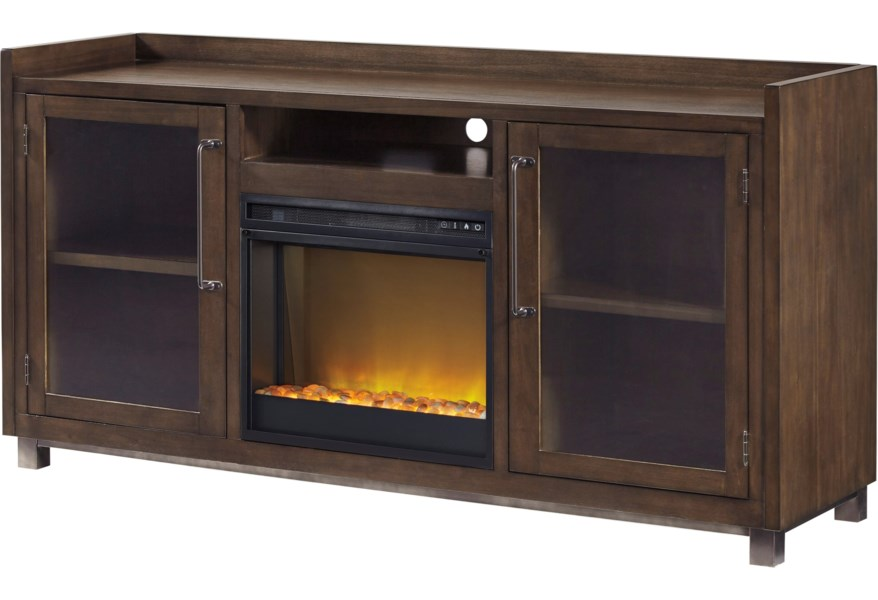 Ashley Signature Design Starmore Modern Rustic Industrial Xl Tv Stand W Fireplace Dunk Bright Furniture Tv Stands