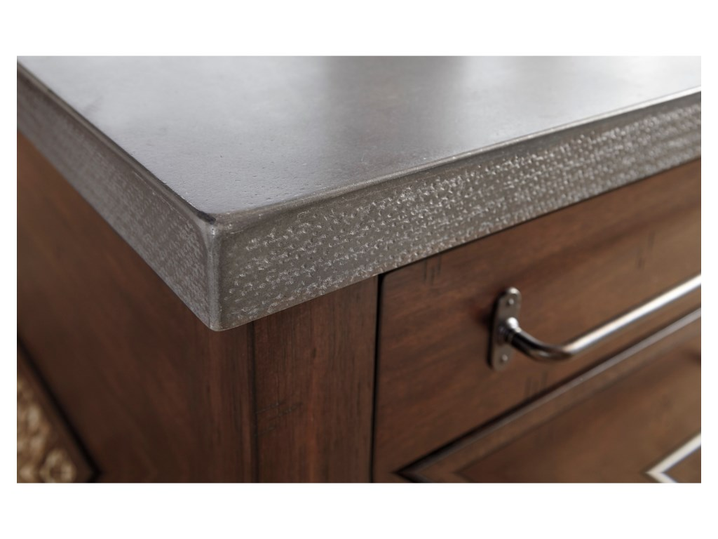 Starmore Tail Table With Storage Large Style Pulls Cement Top By Ashley Signature Design
