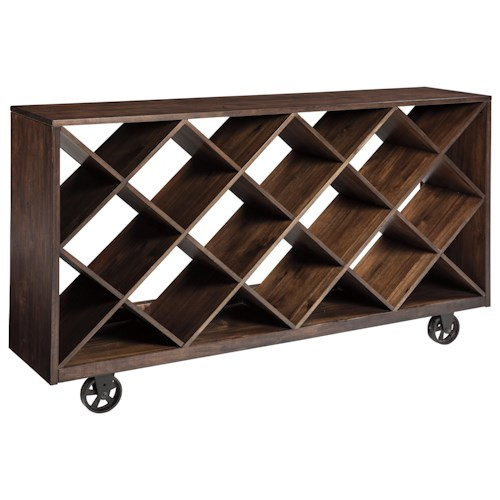 Signature Design by Ashley Starmore Shelf/Console Table with Angled Open Compartments & Industrial Style Wheels