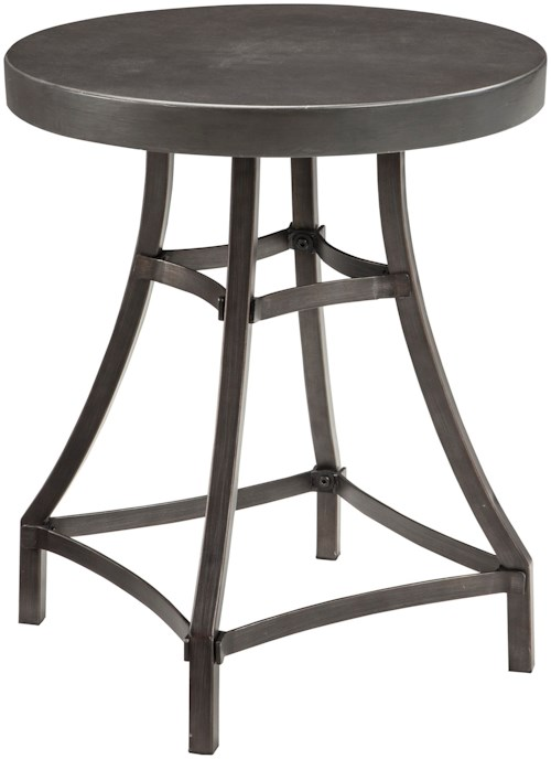 Signature Design by Ashley Starmore Round End Table with Metal Base & Cast Cement Top