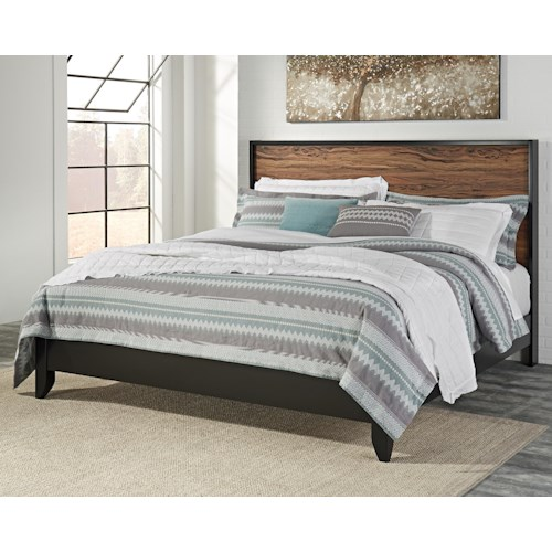 Signature Design by Ashley Stavani Modern Rustic King Panel Bed with Black/Cherry Finish