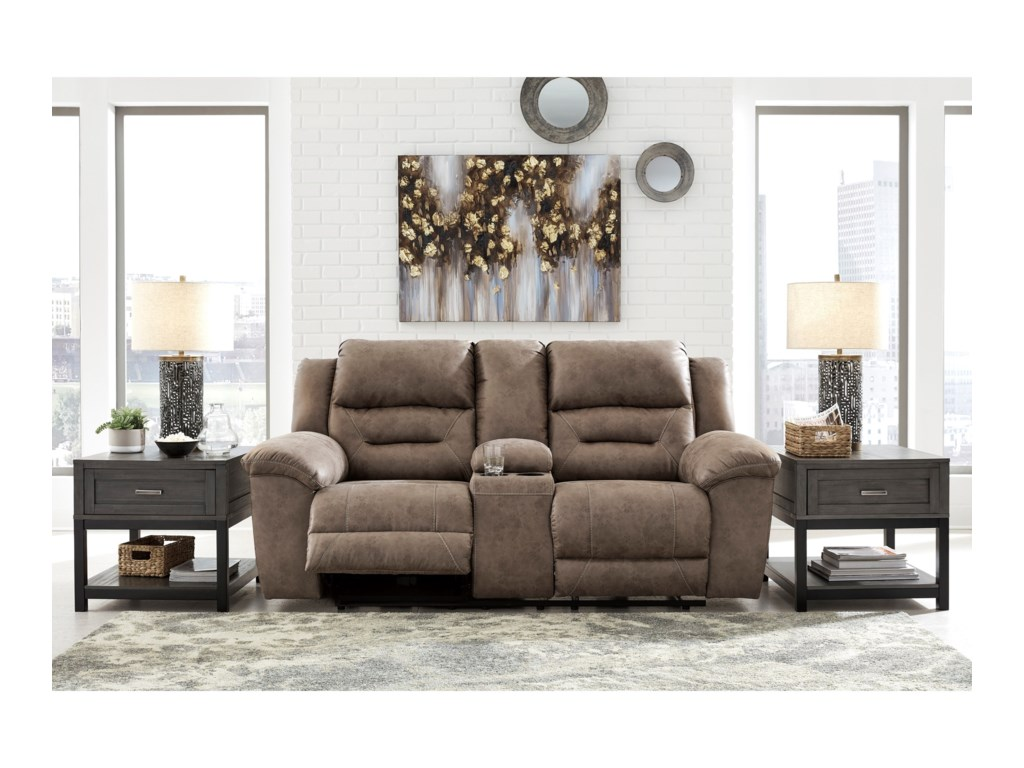 Signature Design by Ashley StonelandDouble Recl Power Loveseat w/ Console