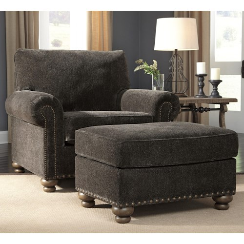 Signature Design by Ashley Stracelen Transitional Chair and Ottoman with Nailhead Trim and Bun Feet