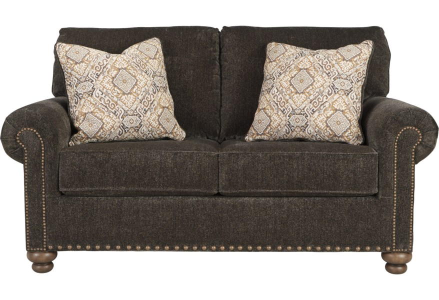 Ashley Signature Design Stracelen Transitional Loveseat With 2 Decorative Pillows Rooms And Rest Love Seats