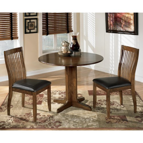 Signature Design By Ashley Stuman 3 Piece Round Drop Leaf Table Set