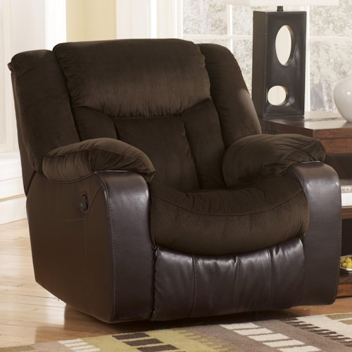 Signature Design by Ashley Tafton - Java Contemporary Exterior Handle Operated Rocker Recliner
