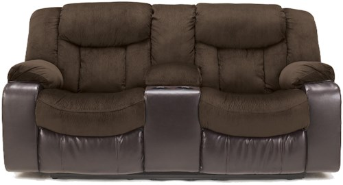 Signature Design by Ashley Tafton - Java Contemporary Double Reclining Loveseat with Console