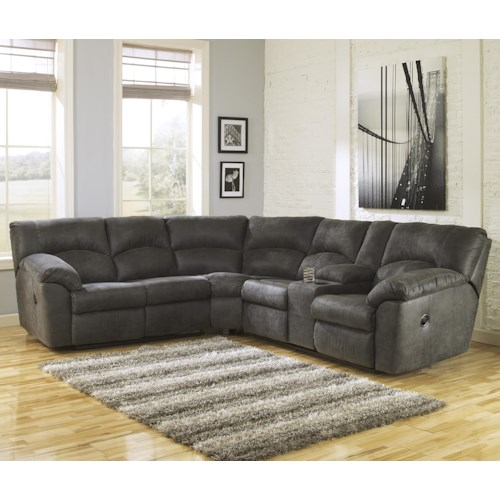Signature Design by Ashley Tambo - Pewter 2-Piece Reclining Corner Sectional with Center Console