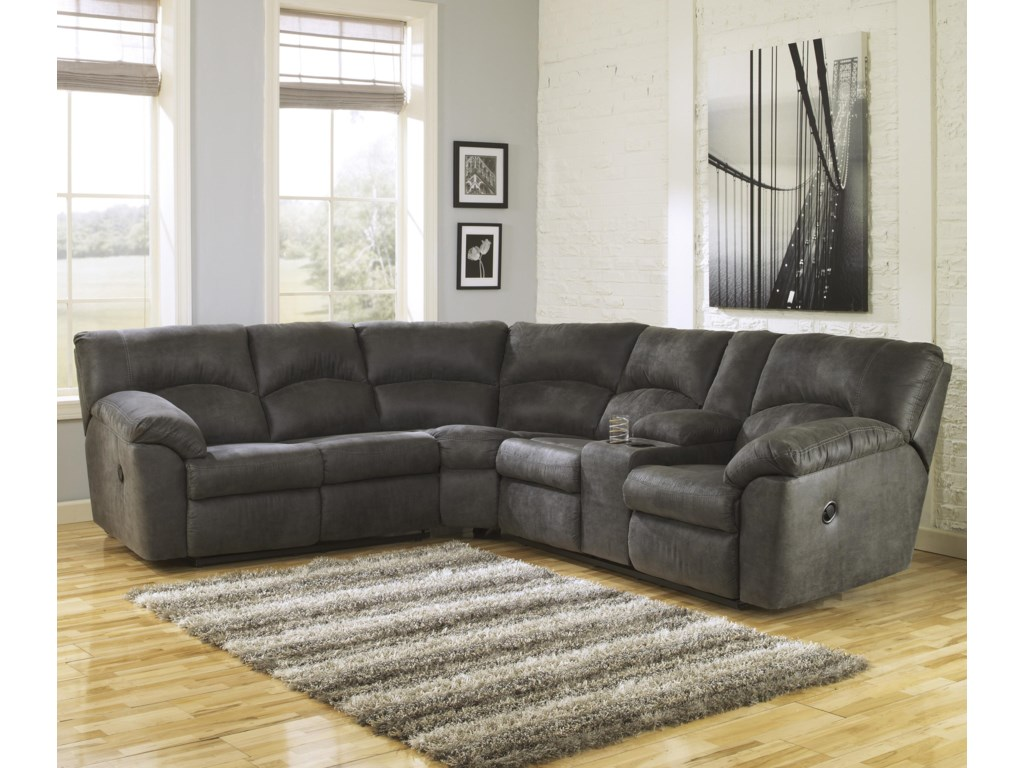 Signature Design by Ashley Tambo - Pewter2-Piece Reclining Corner Sectional