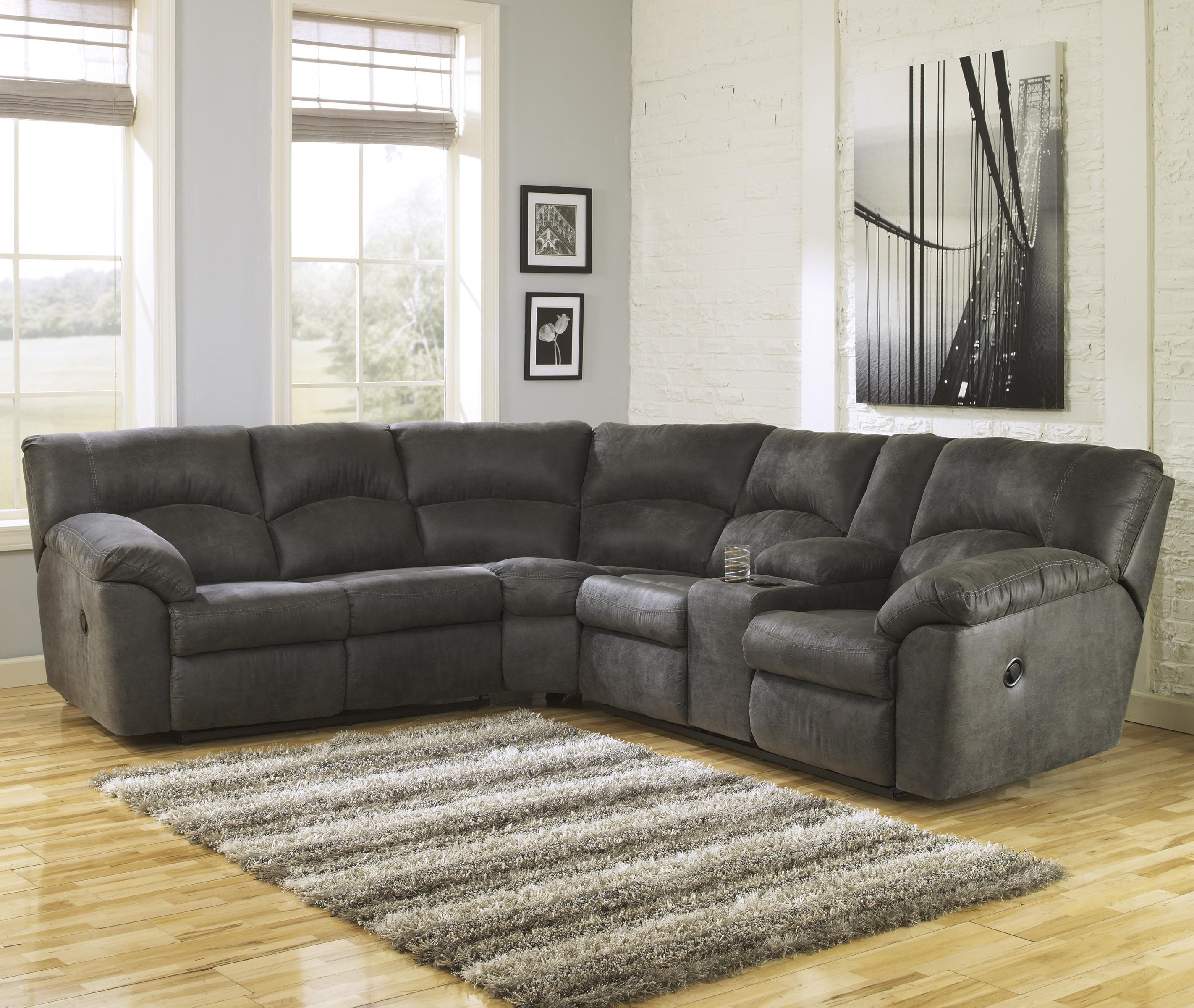 Signature Design By Ashley Tambo   Pewter2 Piece Reclining Corner Sectional  ...