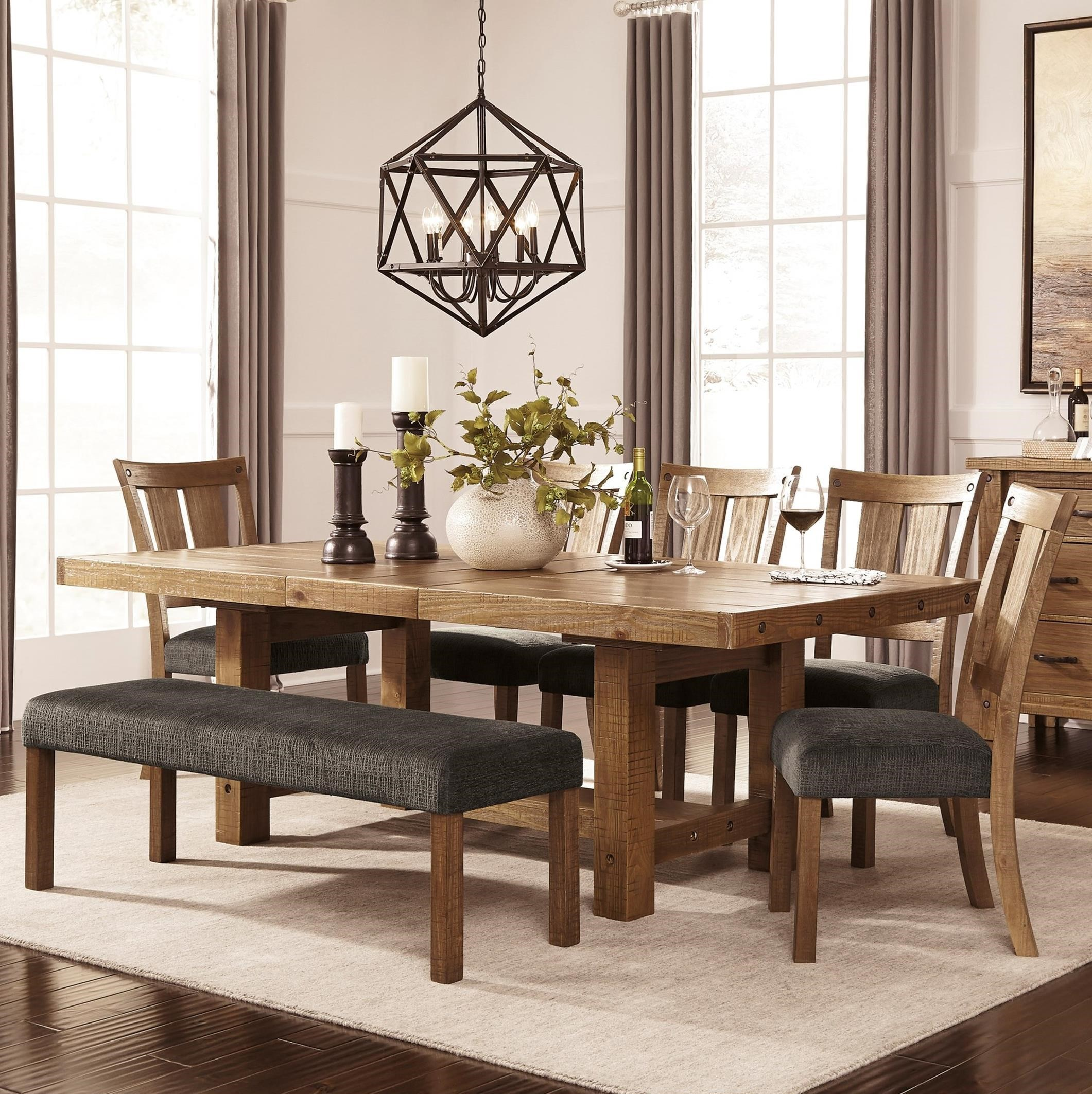 7 piece dining set with bench rustic dining signature design by ashley tamilo7 piece table chair set with bench tamilo