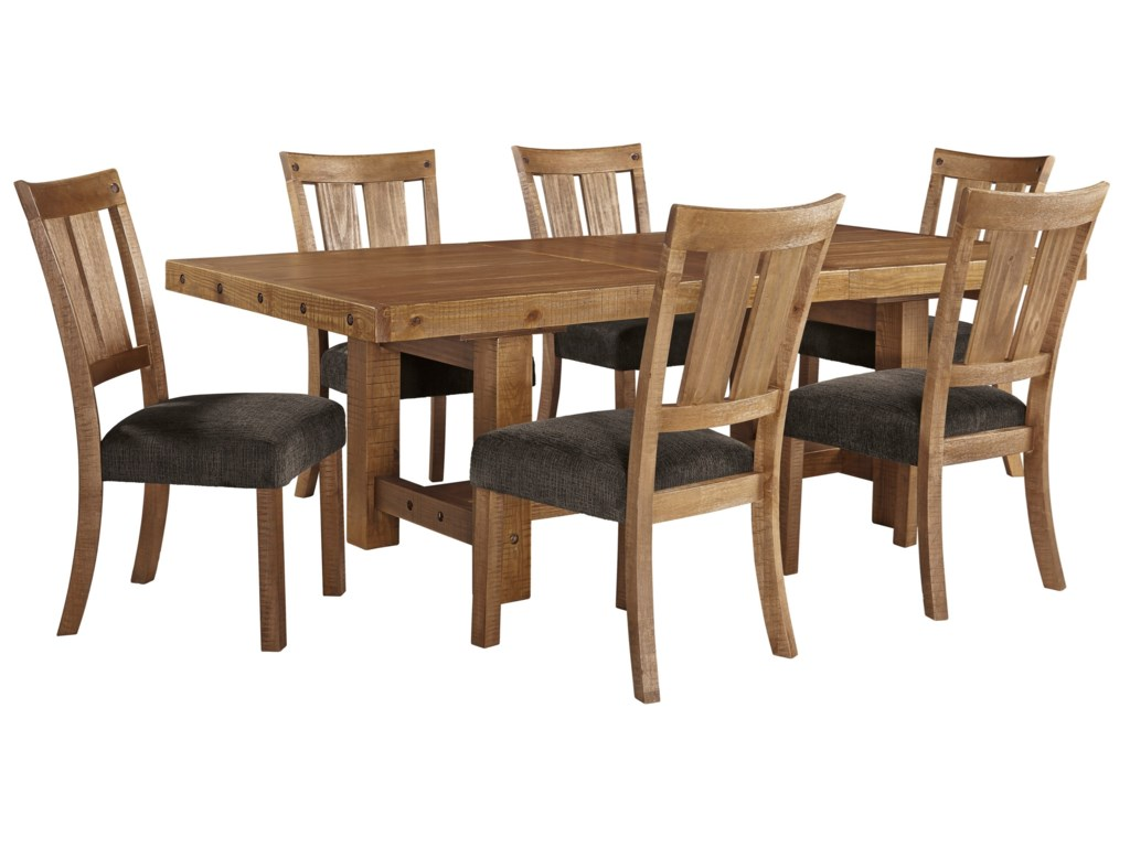 Signature Design by Ashley Tamilo7 Piece Table & Chair Set with Leaf
