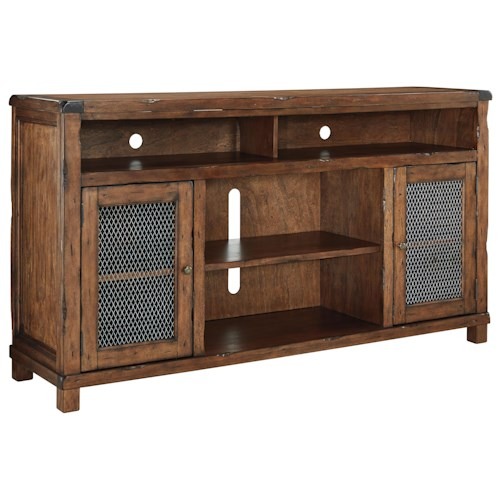 Signature Design by Ashley Tamonie Rustic Mango Veneer XL TV Stand with Wire Mesh Doors