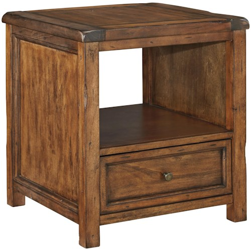 Signature Design by Ashley Tamonie Rustic Square End Table with Shelf and Drawer