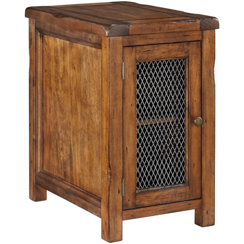 Signature Design by Ashley Tamonie Rustic Chair Side End Table with Wire Mesh Door
