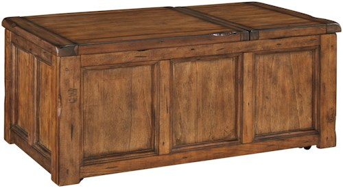 Signature Design by Ashley Tamonie Rustic Trunk Style Rectangular Lift Top Cocktail Table with Storage and Casters