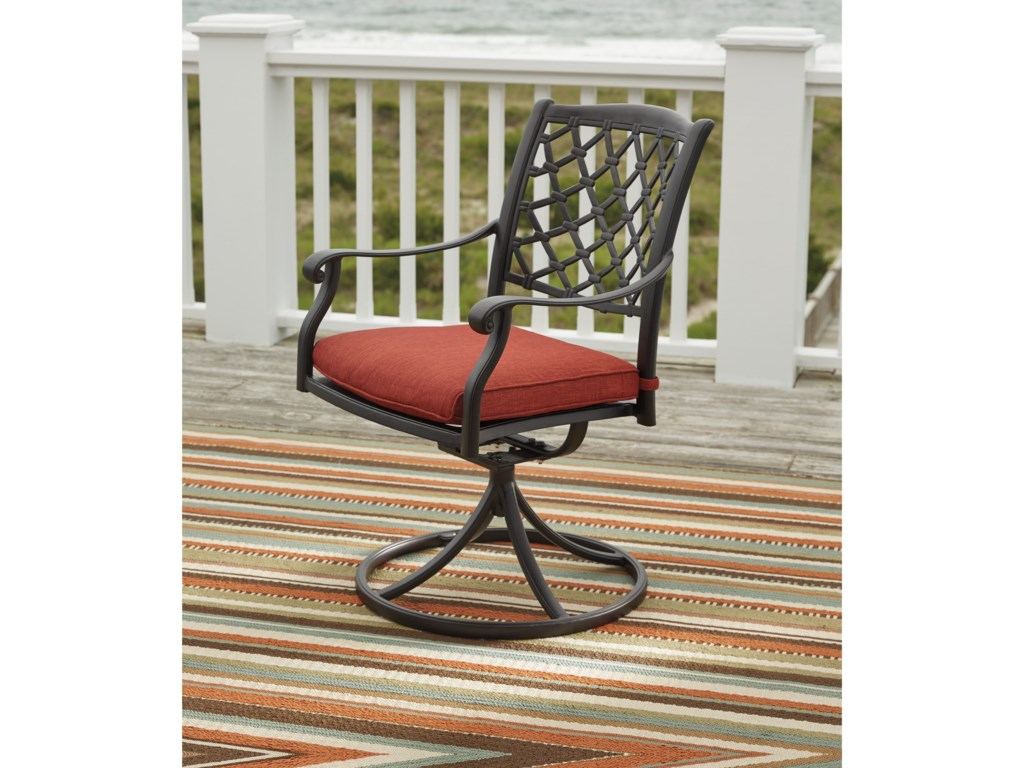 Benchcraft TanglevaleSet of 2 Outdoor Swivel Chairs w/ Cushion