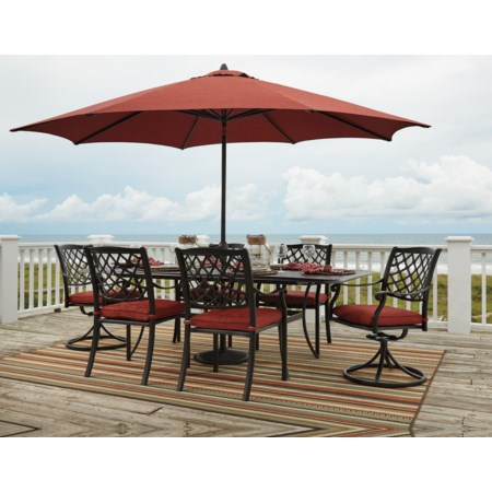 Outdoor Dining Table Set w/ Umbrella