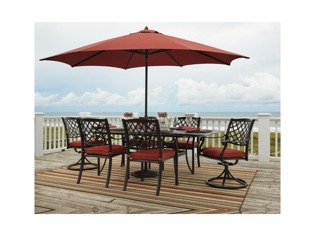 Signature Design by Ashley TanglevaleRectangular Extension Table w/ Umbrella Opt
