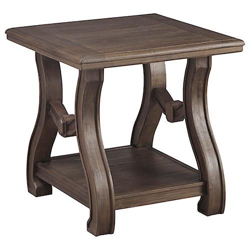 Signature Design By Ashley Tanobay Square End Table With Cottage Style Base Shelf Pilgrim