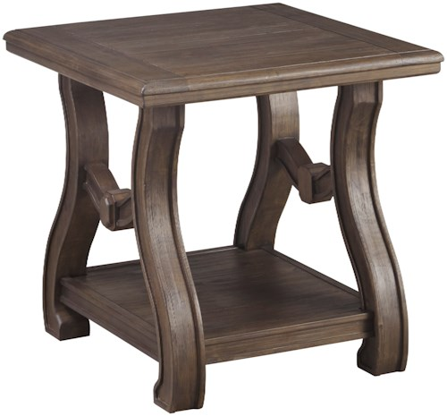 Signature Design by Ashley Tanobay Square End Table with Cottage Style Base & Shelf