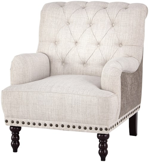 Signature Design by Ashley Tartonelle Traditional Accent Chair with Tufted Back and Nailhead Trim