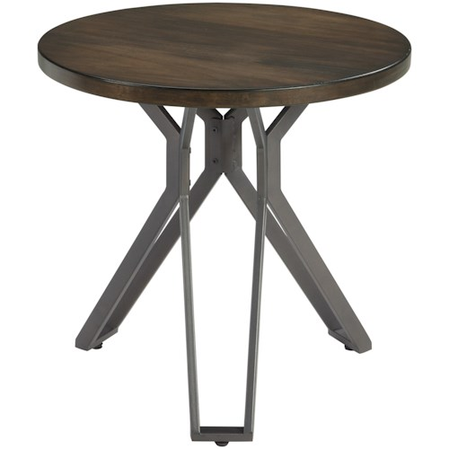 Signature Design by Ashley Tavonni Round End Table with Metal Pedestal Base