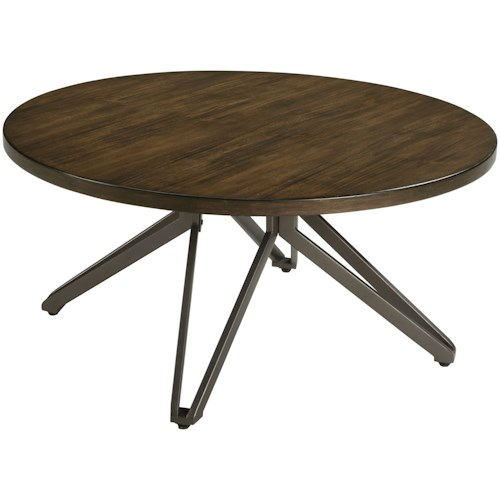 Signature Design by Ashley Tavonni Round Cocktail Table with Unique Metal Pedestal Base