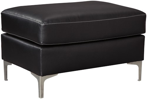 Signature Design by Ashley Tensas Contemporary Ottoman with Metal Legs