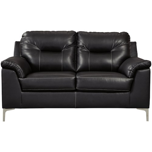 Signature Design by Ashley Tensas Contemporary Loveseat with Pillow Arms