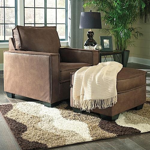 Signature Design by Ashley Terrington Faux Leather Chair & Ottoman with Piecrust Welt Trim