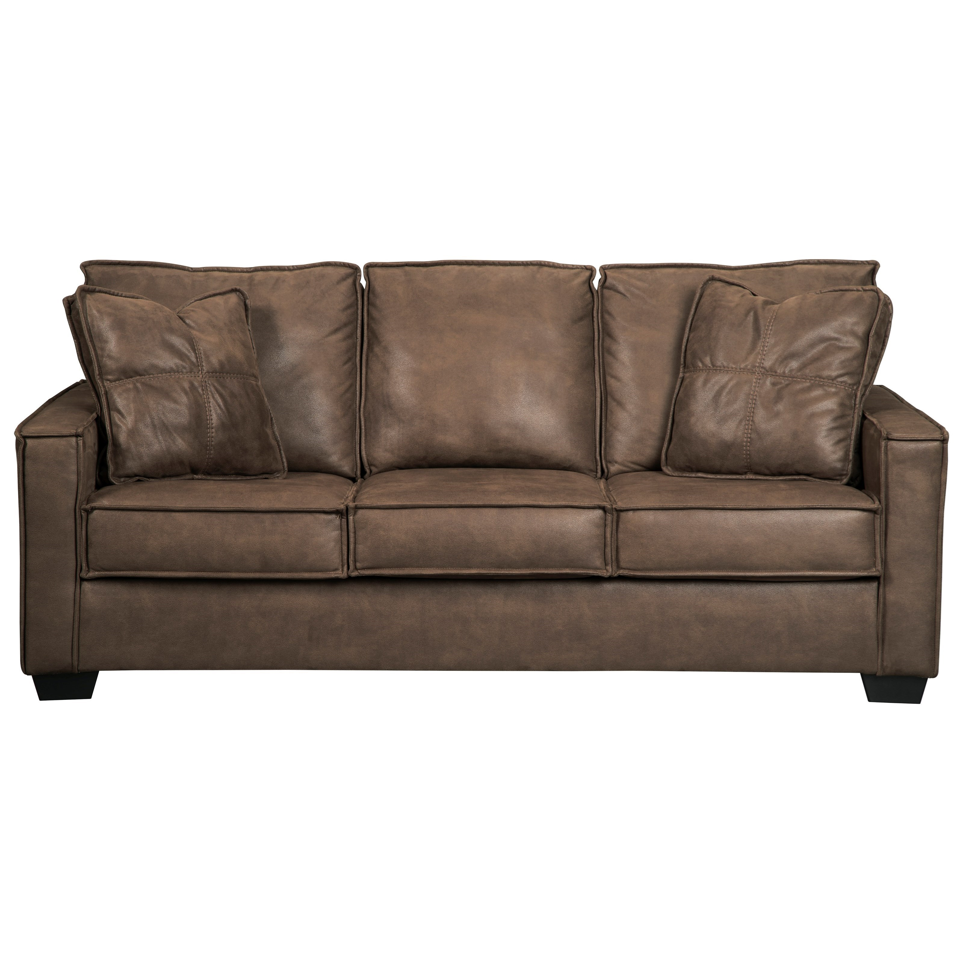 Signature Design By Ashley Terrington Faux Leather Sofa With Piecrust Welt  Trim