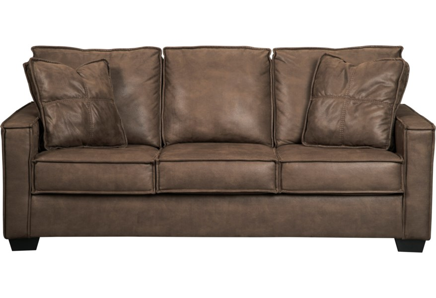 Terrington Faux Leather Queen Sofa Sleeper with Memory Foam Mattress &  Piecrust Welt Trim by Signature Design by Ashley at Northeast Factory Direct