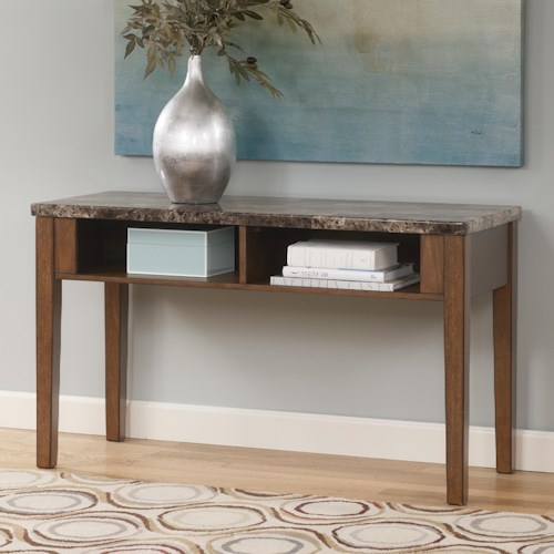 Signature Design by Ashley Theo Sofa Table / TV Console with Faux Marble Top
