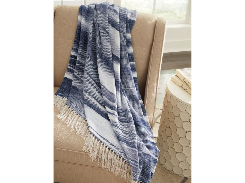 Signature Design by Ashley ThrowsAgustin White/Blue Throw