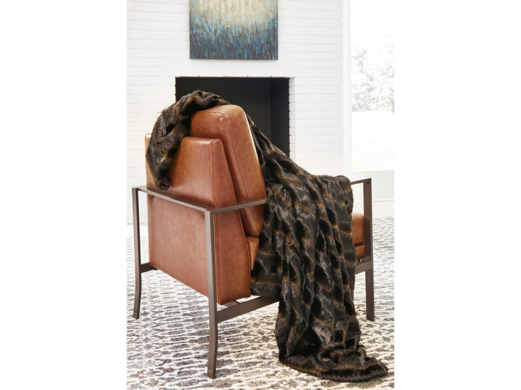 Signature Design by Ashley ThrowsJessen Brown/Black Faux Fur Throw