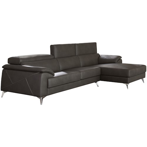 Signature Design by Ashley Tindell Contemporary 2 Piece Sectional with Adjustable Headrest