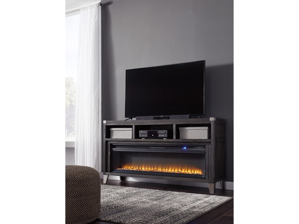 Signature Design by Ashley SomersetLarge TV Stand with Fireplace Insert