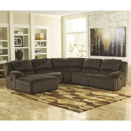 Signature Design By Ashley Toletta Chocolate Reclining Sectional With Left Press Back Chaise