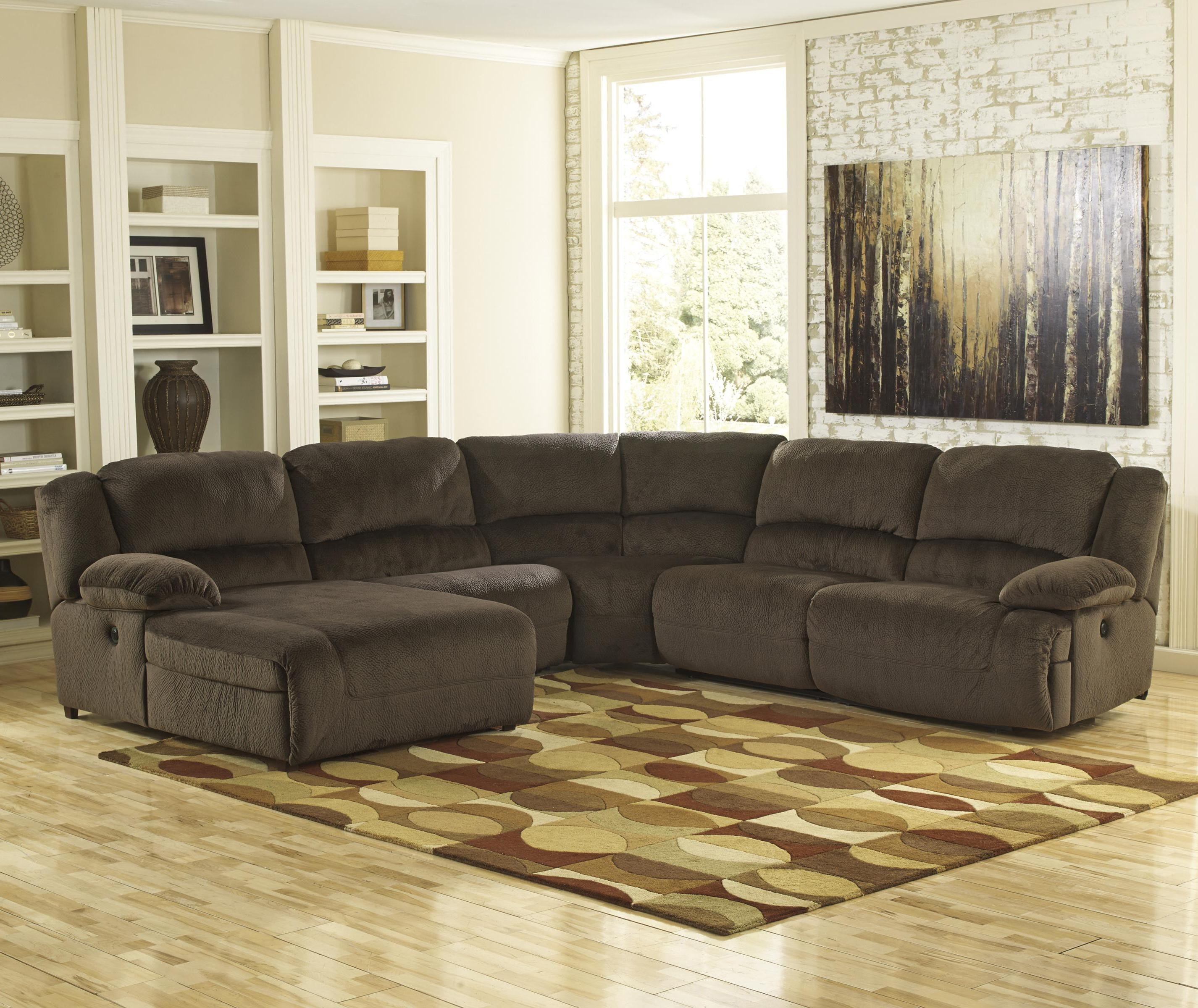 Signature Design By Ashley Toletta   Chocolate Power Reclining Sectional  With Left Press Back Chaise
