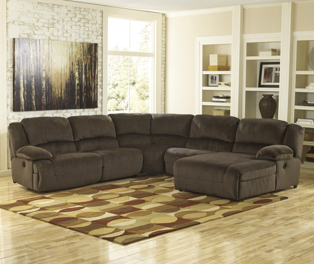 Ashley Signature Design Toletta Chocolate Reclining Sectional  ~ Reclining Sectional Sofa With Chaise Lounge