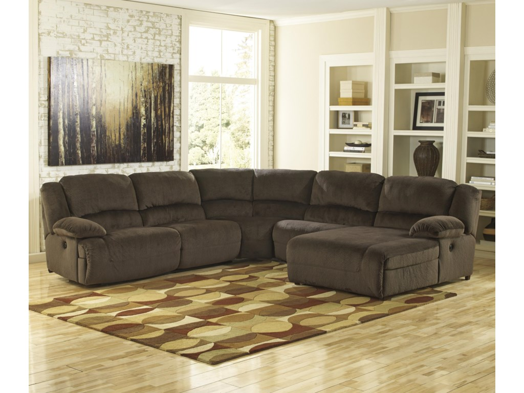 Signature Design By Ashley Thomas Chocolatereclining Sectional With Chaise