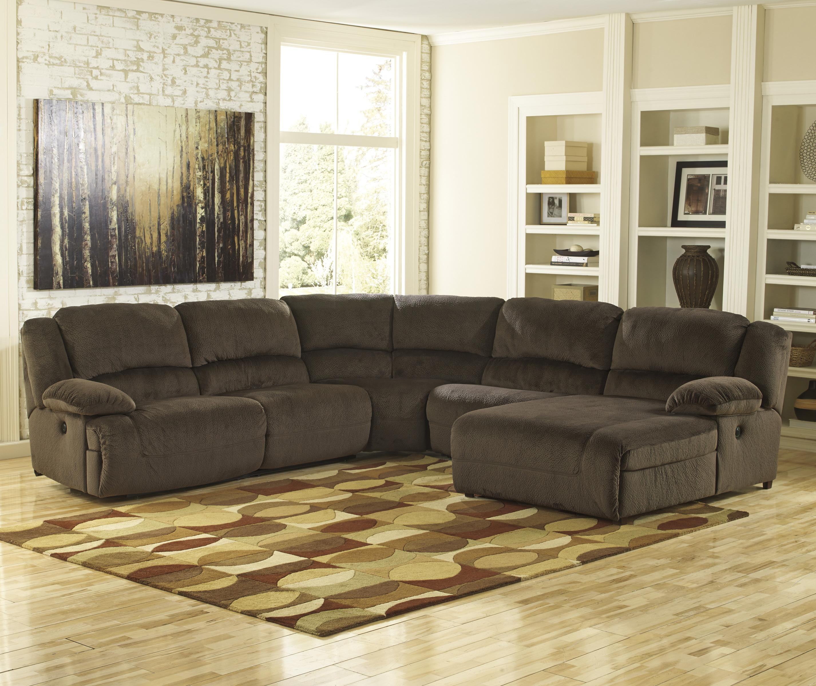Signature Design By Ashley Thomas: ChocolateReclining Sectional With Chaise  ...