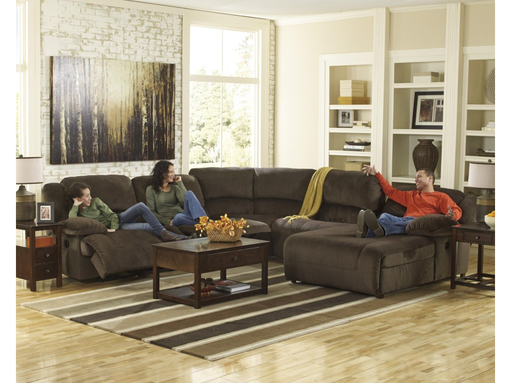 Signature Design by Ashley Toletta - ChocolatePower Reclining Sectional with Chaise