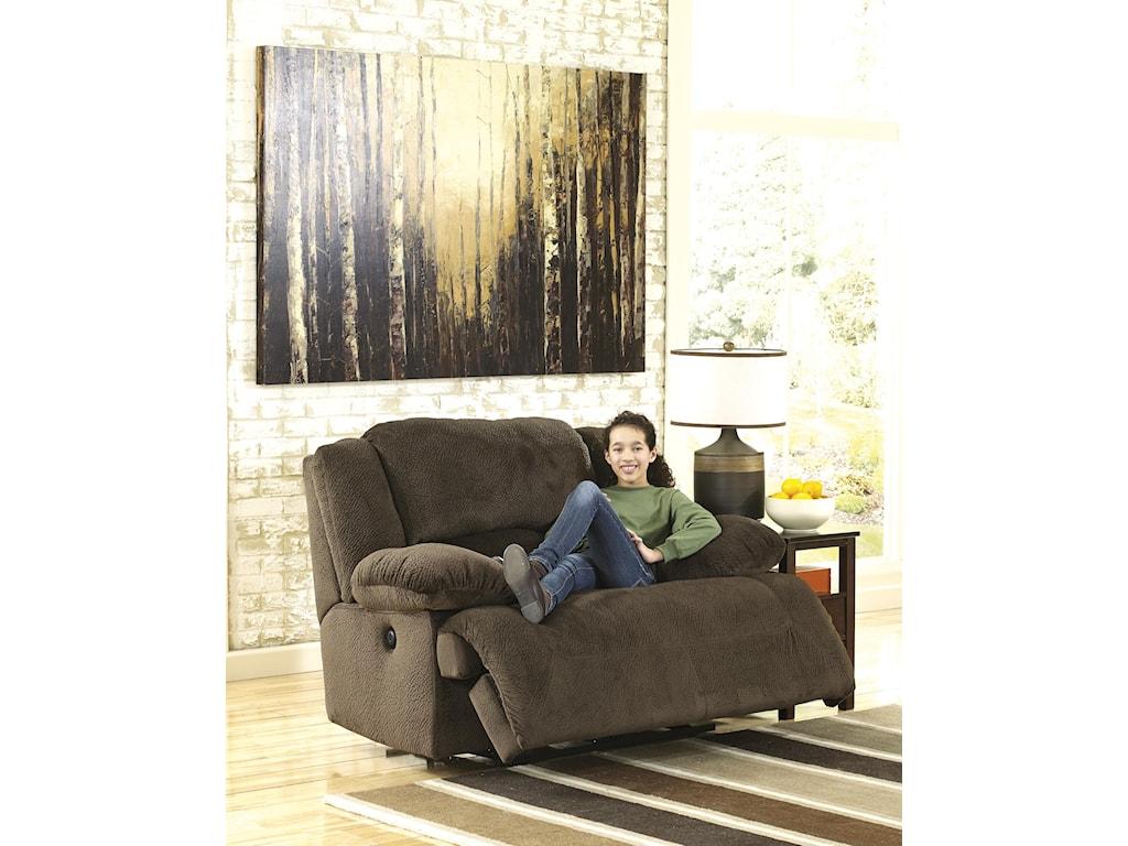 Signature Design by Ashley Toletta - ChocolateZero Wall Wide Seat Recliner