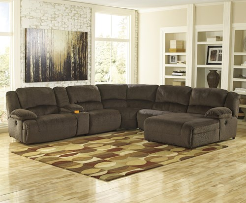 Signature Design by Ashley Toletta - Chocolate Power Reclining Sectional with Console & Right Press Back Chaise