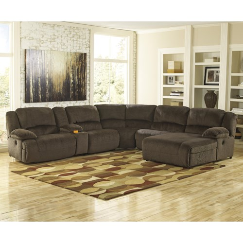 Signature Design by Ashley Toletta - Chocolate Reclining Sectional with Console & Right Press Back Chaise