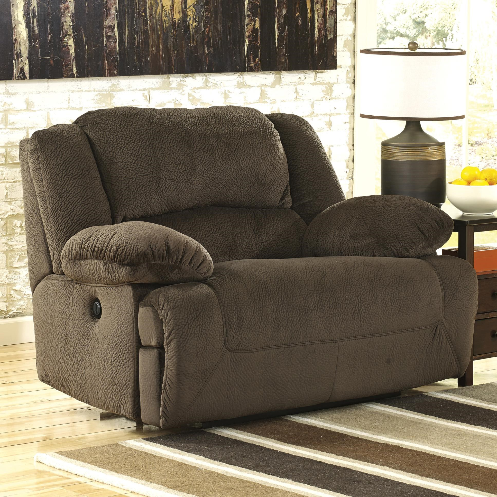 signature design by ashley toletta chocolate wide seat power recliner