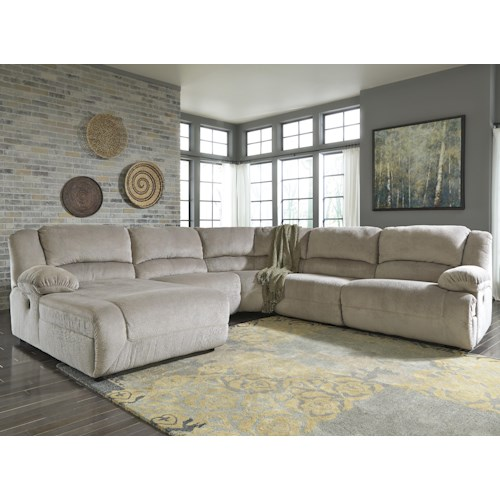 Signature Design by Ashley Toletta - Granite Reclining Sectional with Left Press Back Chaise