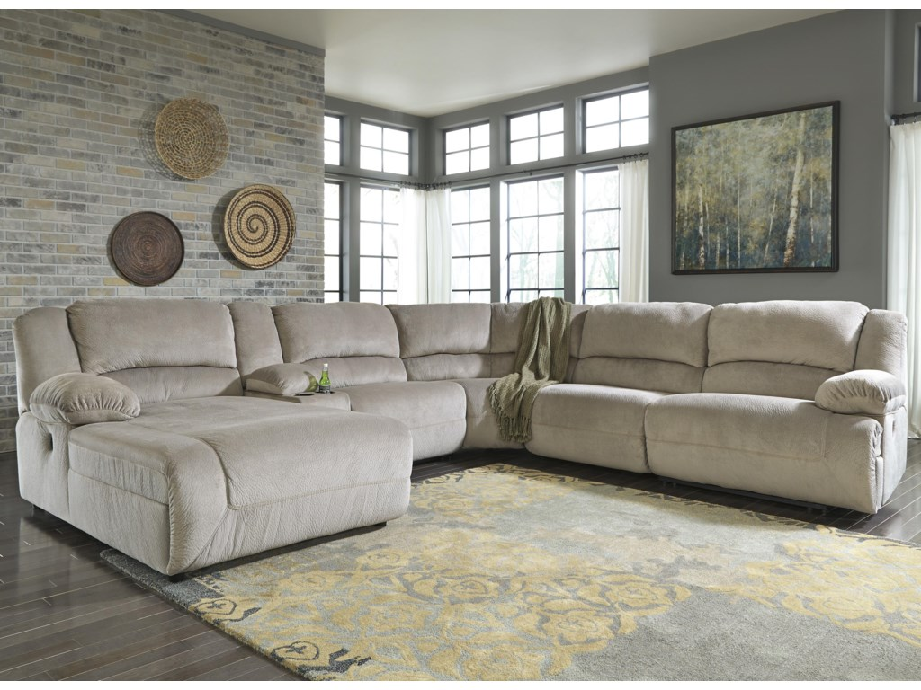 Signature Design by Ashley Toletta - GraniteReclining Sectional w/ Console & Chaise